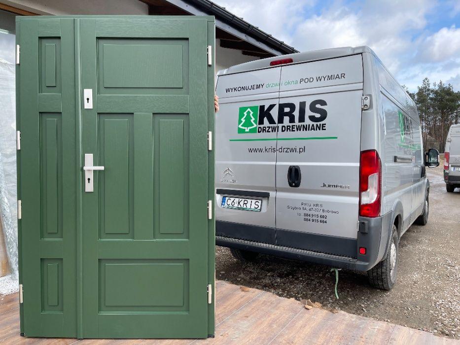 Drzwi zewnętrzne drewniane dębowe dwuskrzydłowe zielone CAŁA POLSKA Grzybno - image 1