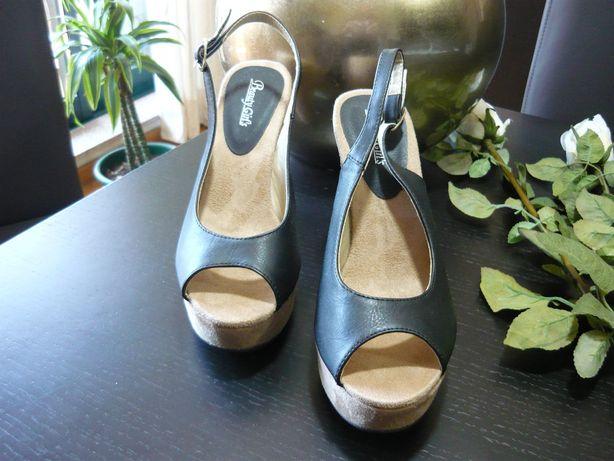 Sandálias de senhora - Pele/Nobuco - Preto/Beje - Novas