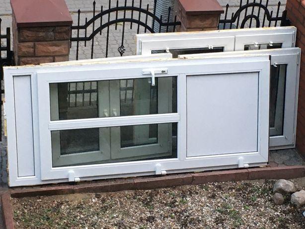 Drzwi, 2 okna  biale dwa skrzydla szer 146 wys 109