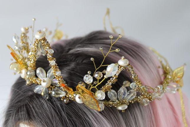 свадебная диадема(корона) ручной работы