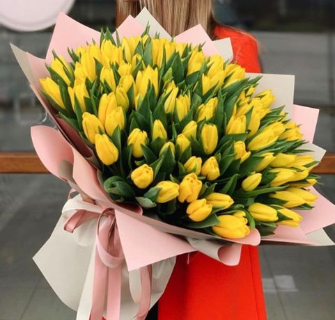 Шикарный букет для вашей любимой лучший подарок тюльпаны/розы 27/101