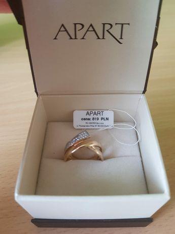 Złoty pierścionek z cyrkoniami Apart