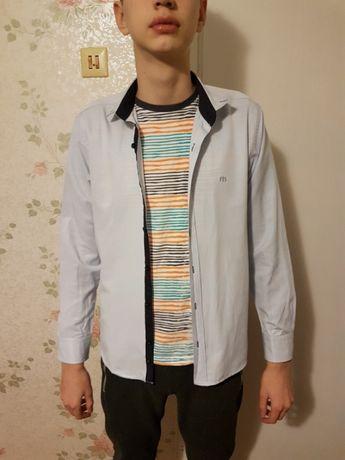 Рубашка на мальчика, 164 рост, светло-голубая