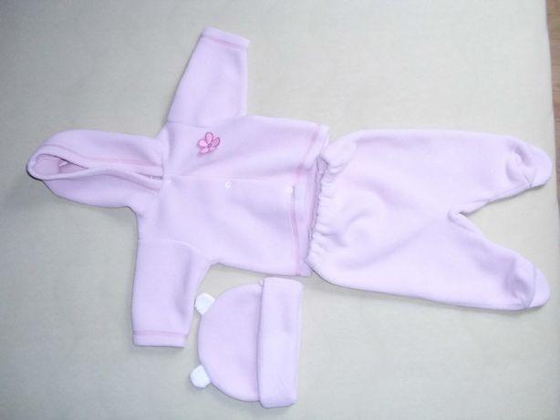 Ubranko polarowe ciepłe dla dziewczynki 6 mc - komplet stan bdb