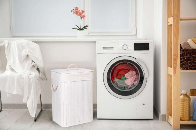 Kosz bambusowy pojemnik na pranie 1 komora 72L biały