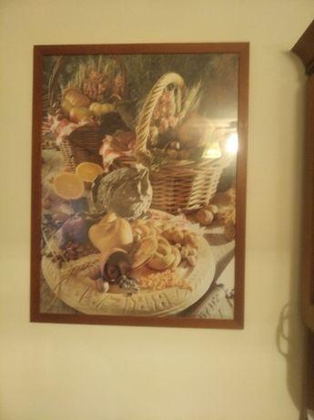 obraz do kuchni w drewnianej ramie