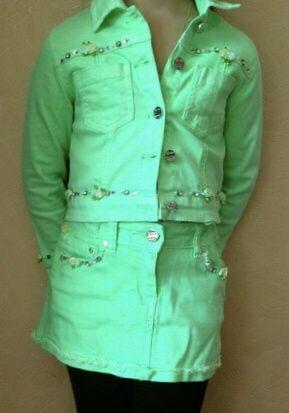 Джинсовый коттоновый костюм неоновый яркий пиджак 5 лет