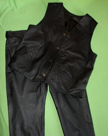 Nowe spodnie skóra naturalna+kamizelka r XL