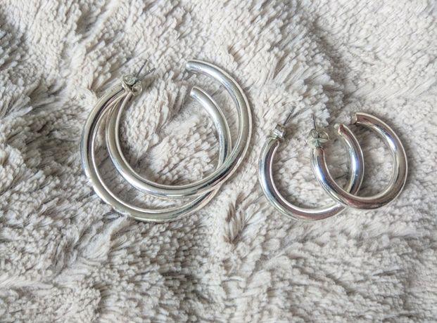 Zestaw 2 par kolczyków - kół w srebrnym kolorze (średnie i małe) H&M