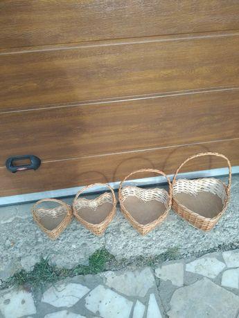 Комплект корзин 4 штуки у формі Сердець