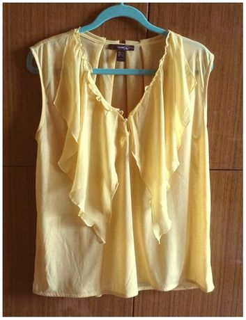 MANGO Suit - prześliczna zwiewna żółta - słoneczna bluzka na lato - XL