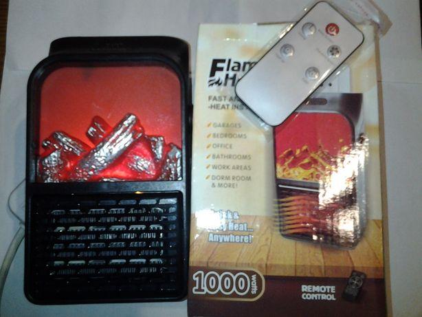 Электрообогреватель Heater 1000W с пультом ,эффект камина