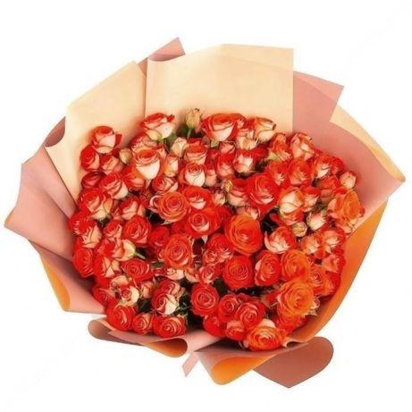 Доставка букетов, 101 роза, альстромерии, эустомы, цветов,