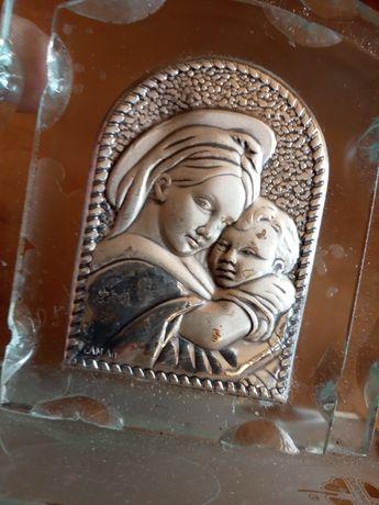 Plakietka Madonna z Dzieciątkiem Jezus. Matka Boska z Jezusem. Srebro