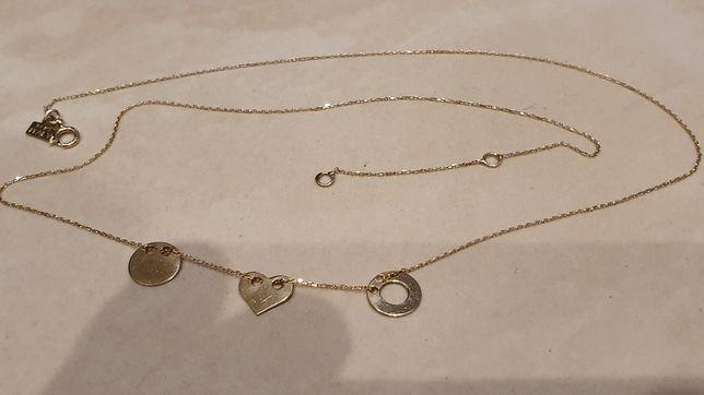 Łańcuszek złoty 585 serce kółko złoto naszyjnik celebrytka jak nowy