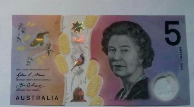Австралийские доллары. Купюра 5 долларов с эффектом анимации.