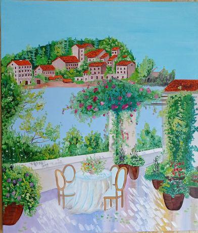 Картина маслом на холсте Италия Пейзаж море Лето