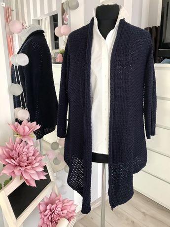 Granatowy asymentryczy sweter Quiosque rozm 46