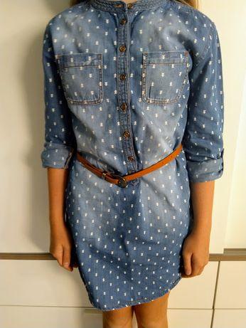 Sukienka dżinsowa - tunika rośnie z dzieckiem r. 140-152