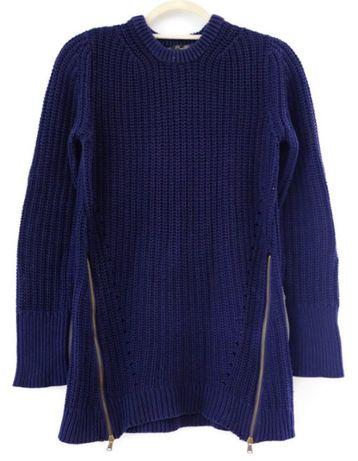 Zara sweter M 38 granatowy niebieski sweterek Knitwear z suwakami