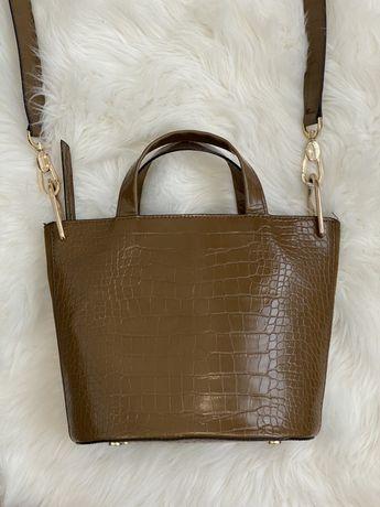 Коричнева сумка Zara під рептилію