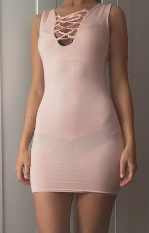 Sukienka wiązany dekolt straps sznureczki Missguided 34-38 sexi róż