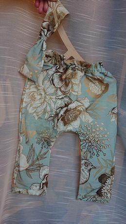 Handmade 80/86 nowe spodnie dresowe baggy+ opaska kwiaty rośliny ptak