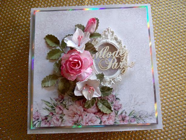 Kartka urodziny, Dzień Babci, ręcznie robiona, w pudełku