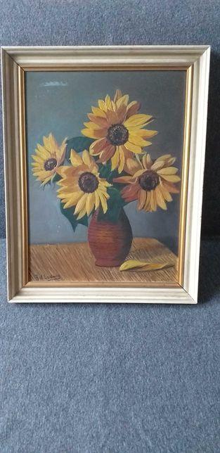 Obraz ręcznie malowany. Słoneczniki w wazonie.