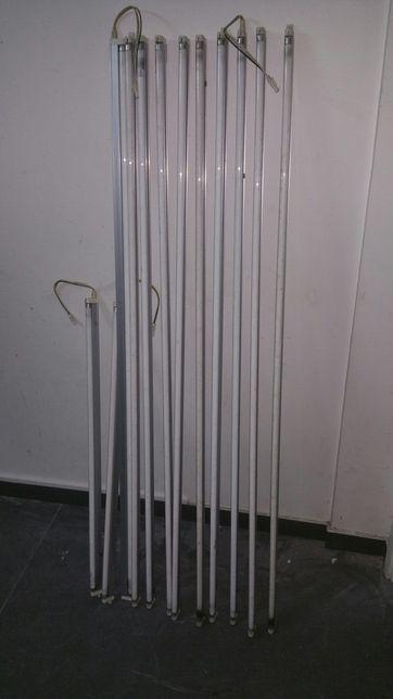 10 lampadas com suporte. Compridas  com147 cm, e 2 com 88 cm.