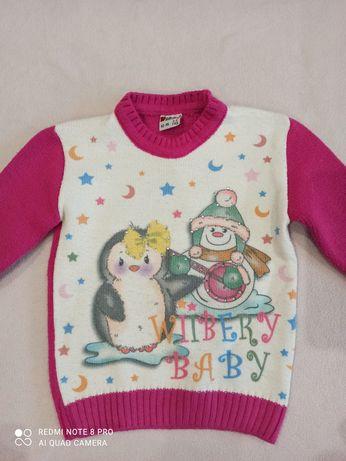 Теплий реглан для дівчинки, теплый новогодний реглан, свитер