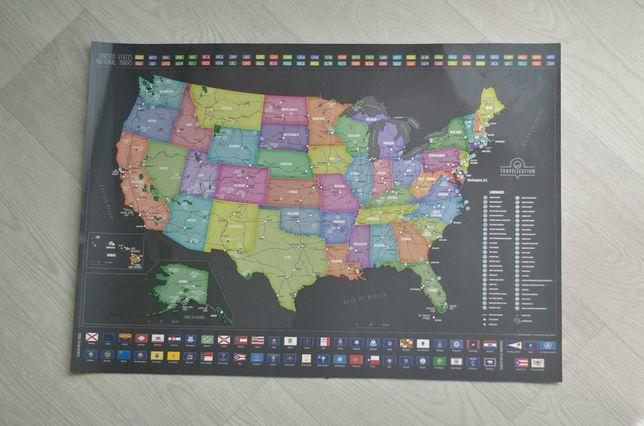 Тревел-карта Америки (США) 62х42см