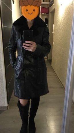 Дубленка куртка лаковая кожа мутон