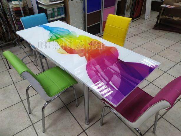 СТОЛ раскладной. Стеклянный СТОЛ. 4 стула + стол. Комплект стол+стулья