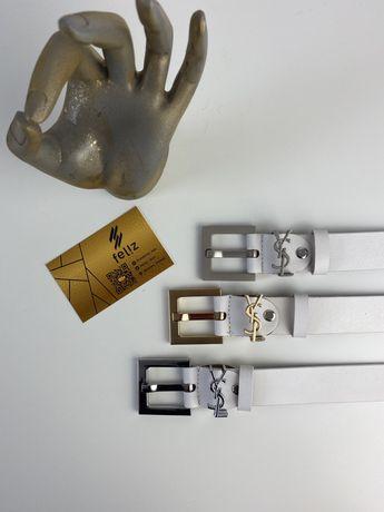 Pasek YSL skóra naturalna biały skórzany premium