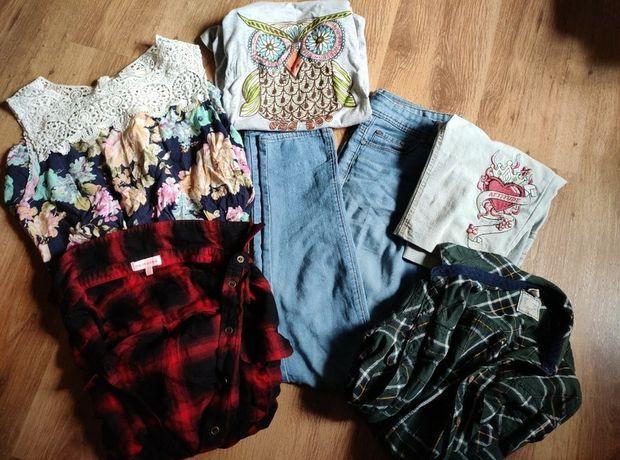 Paka ubrań rozmiar S 36 koszula krata jeansy t-shirt kombinezon letni