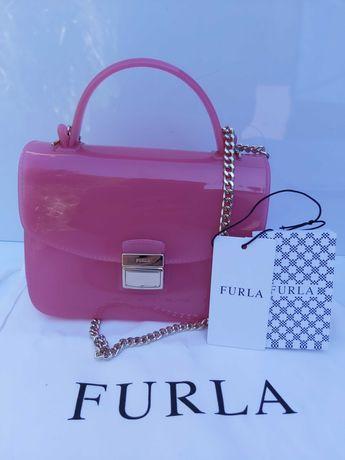 NOWA ekskluzywna torebka FURLA różowa kuferek pudełko koktajlowa torba