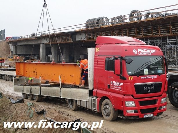 Transport Budowlany Platforma Dłużyca Naczepa Odkryta Burtówka Maszyn