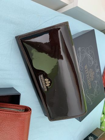 Wittchen portfel lakier brąz skórzany stan bardzo dobry