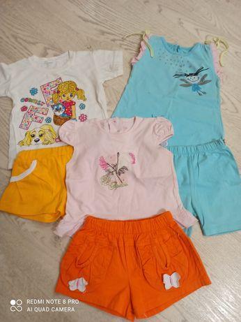 Летние костюмы на малышку 1-2 года, шорты, футболка