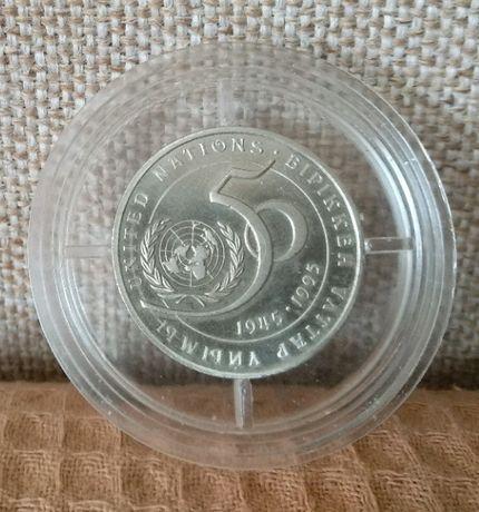 Монета 20 тенге, 50 лет ООН