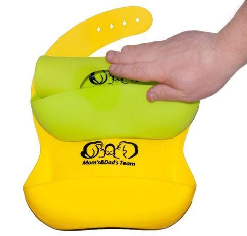 Детский силиконовый слюнявчик нагрудник + детские силиконовые ложки