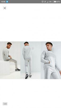 Boohooman komplet dresowy spodnie bluza polar L szary nowy