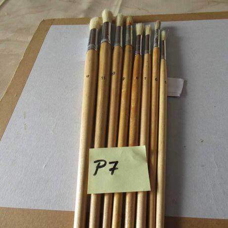 (P7)  8pinceis em pelo de cerdo cabo madeira comprido