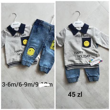 Nowy komplet jeansy bluza dla chłopca