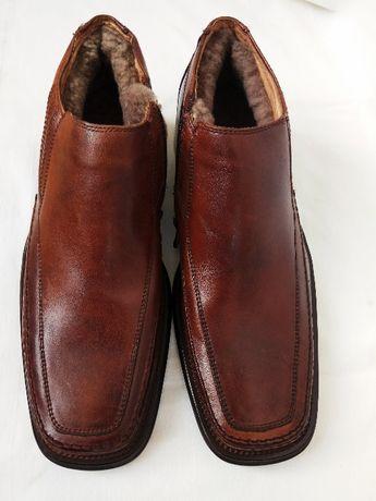 Туфли ботинки мужские новые кожаные на меху размер 40