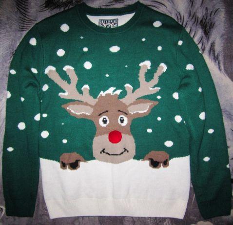Новогодний свитер с оленем, размер L