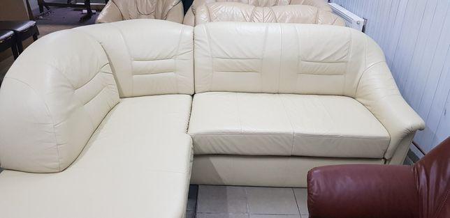 Narożnik skórzany jak nowy rogówka kanapa sofa skóra funkcja spania