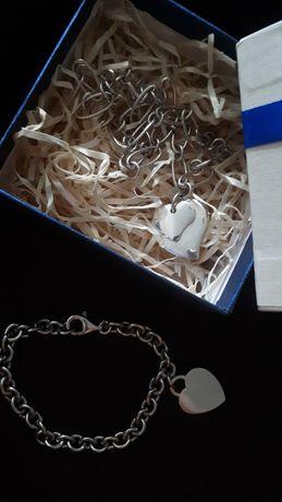 Komplet srebrny naszyjnik i bransoleta 925