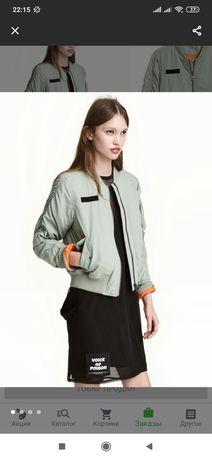 Бомбер утеплённый куртка с подтяжками H&M новый